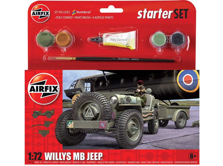 Airfix 1/72 Willys MB Jeep - Starter Set (A55117)