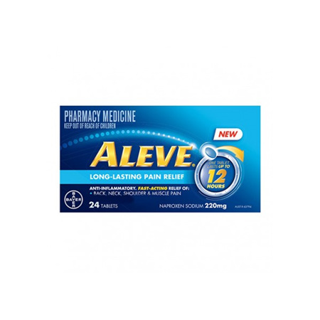 Aleve 12-Hour Long-Lasting Pain Relief 220mg 24 Tablets