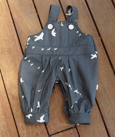 """Alex"" Box pleat romper with leg snaps, 'Flight, Dusk' GOTS Organic Cotton, 0-3 mths"