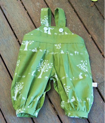 """Alex"" Box Pleat Romper with leg snaps, 'Forest Friends' GOTS Organic Cotton"