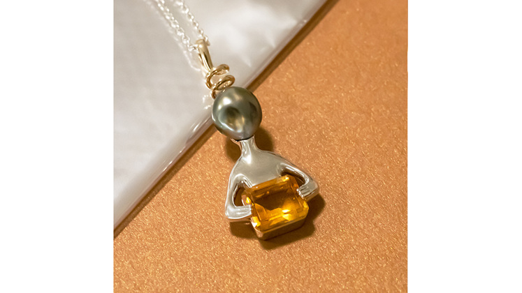 Alien inspired citrine black pearl pendant sterling silver yellow gold