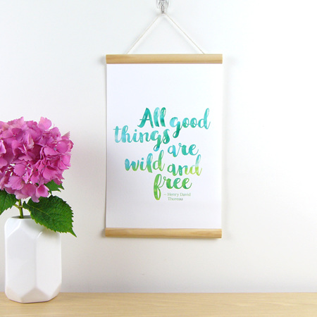 All good things are Wild and Free quote hanging canvas print