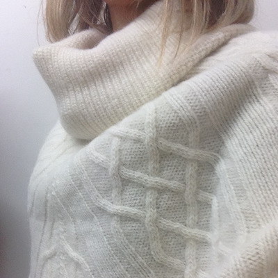 Chunky Cable Alpaca Poncho