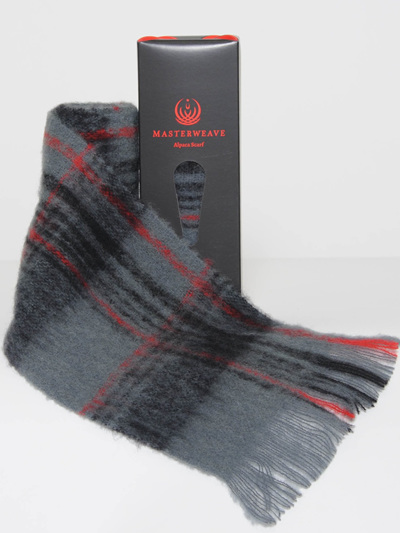 Alpaca Scarf - Grey Black Check