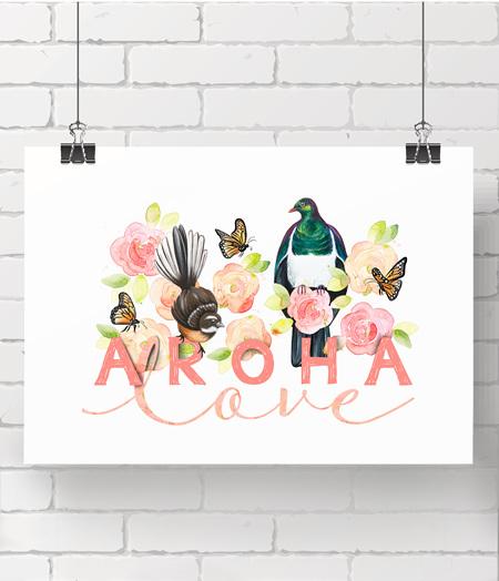 alphabet print - aroha - on A3