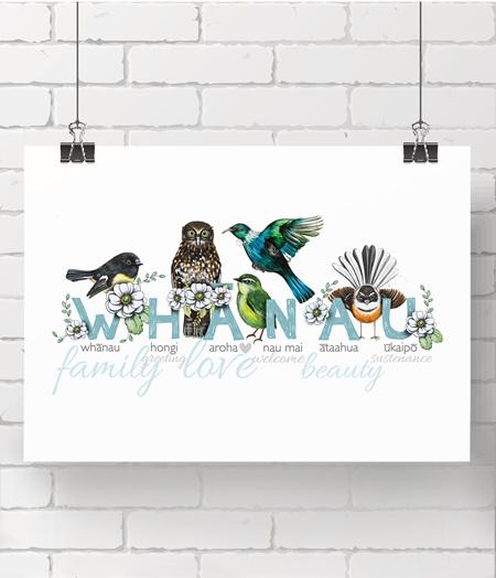 alphabet print - whanau - on A3