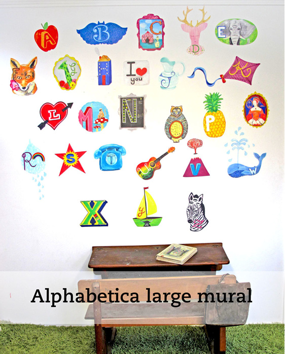 Alphabetic large wall mural