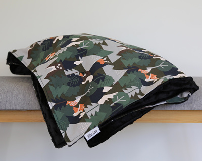 Alpine Forest Black Blanket