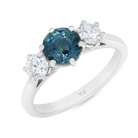 Alpine: Teal Sapphire and Diamond Three Stone