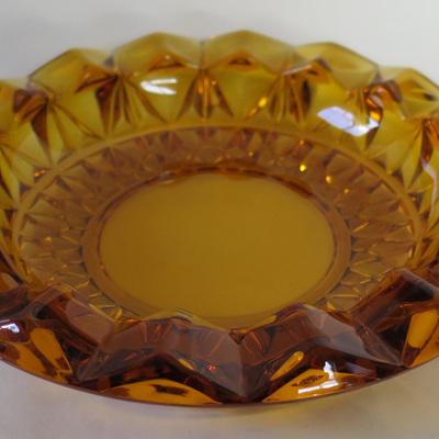 Heavy amber glass dish