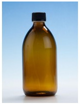 Amber Glass Bottle - 500ml with Black Nera Cap