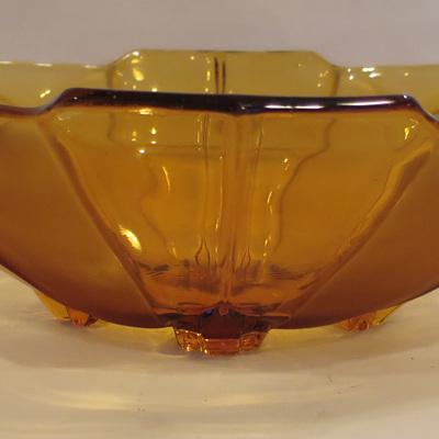Art deco style amber glass