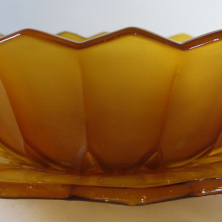 Amber glass bowl and plate