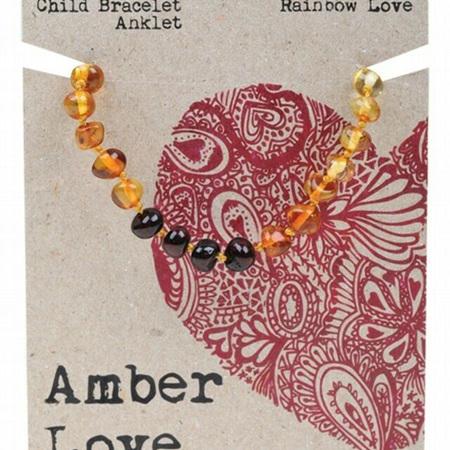 Amber Love Children's Bracelet/Anklet, Rainbow Love