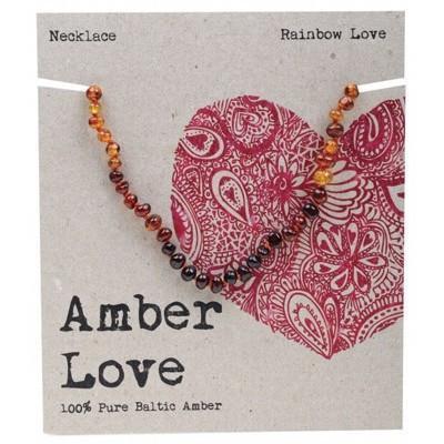 Amber Love Children's Necklace, Rainbow Love
