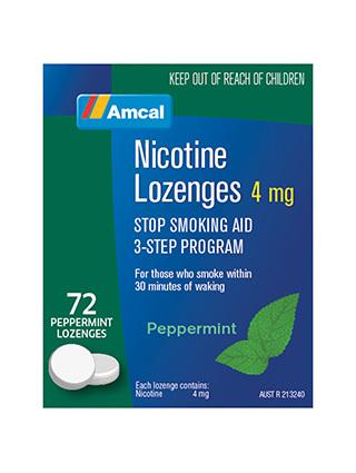 AMCAL NICOTINE LOZENGES 4MG 72