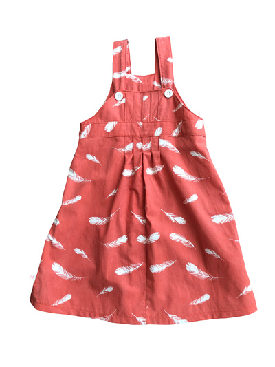 'Amelie'  Box Pleat Dress, 'Feathers Coral' GOTS Organic Cotton, 2 years