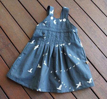 'Amelie' Box Pleat Dress, 'Flight, Dusk' GOTS Organic Cotton, 3-6m