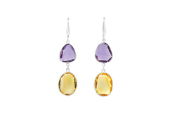 Amethyst and Citrine Drop Earrings