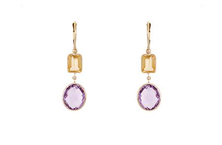 Amethyst and Citrine Gold Hook Earrings