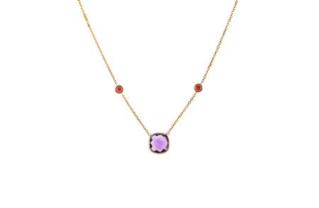 Amethyst and Garnet Three Stone Necklace