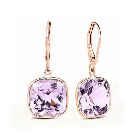 Amethyst and Gold Drop Earrings
