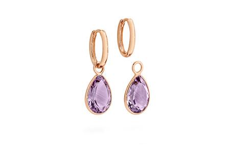 Amethyst Charm Rose Gold Huggie Earrings
