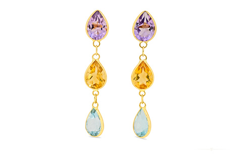 Amethyst, Citrine and Topaz Drop Stud Earrings