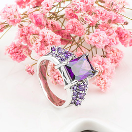 Amethyst & Cubic Zirconia Square Setting Ring - US9
