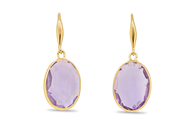 Amethyst earrings 18 ct yellow gold