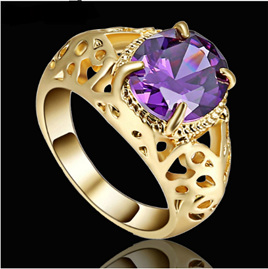 Amethyst Gemstone With Gold  Band Ring - US8