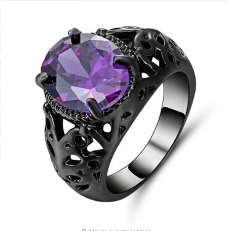 Amethyst Gemstone With Gunmetal Band Ring - US8