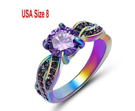 Amethyst Gemstone With Rainbow Band Ring Size US8
