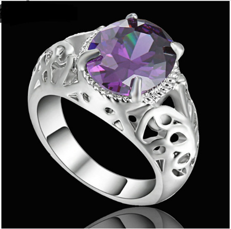 Amethyst Gemstone With Silver  Band Ring - US8