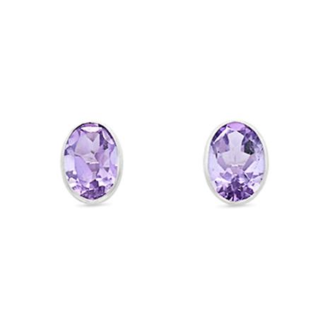 Amethyst Oval Stud Earrings