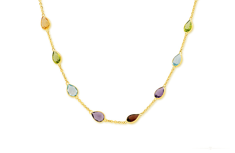Amethyst, peridot, garnet, topaz and citrine set in  18ct Yellow Gold Necklace
