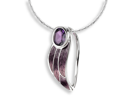 Amethyst Purple Enamel Leaf Necklace