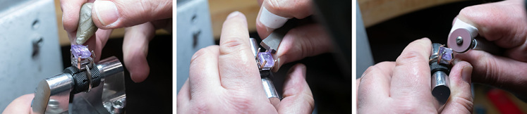 Amethyst ring, setting gemstone solitaire, coloured stone jewellery