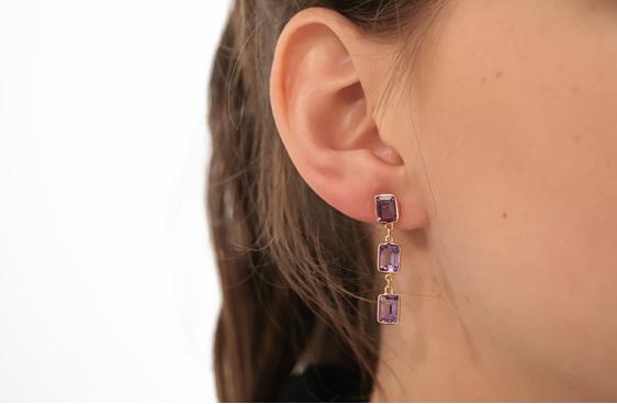 amethyst triple drop earrings in yellow gold