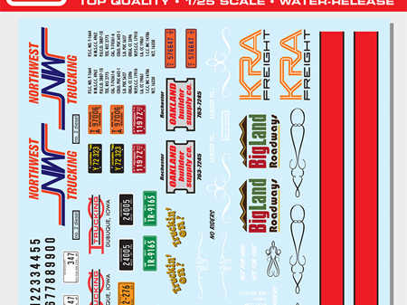 AMT 1/25 Big Rig Trucking Graphics Decals