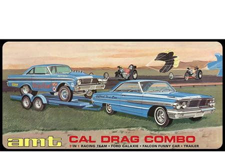 AMT 1/25 Cal Drag Combo - 1964 Galaxie, AWB Falcon & Trailer (AMT1223)