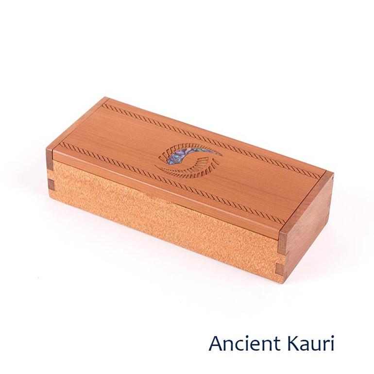 Ancient kauri long box - fern