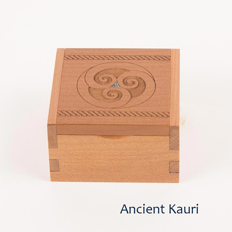ancient kauri ring box - koru
