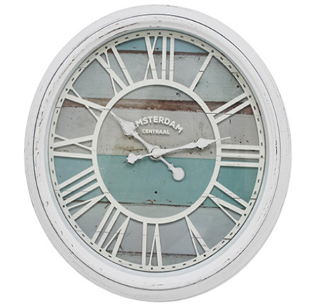 ANGEL CLOCK WHITE WITH BLUE FACE 56CM