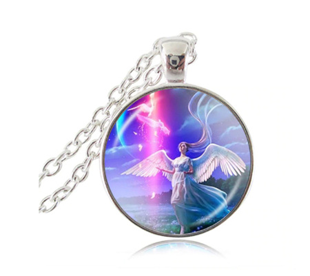 Angel Glass Pendant Necklace (Silver)