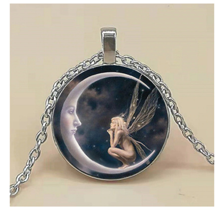 Angel & Moon Glass Pendant Necklace (silver)