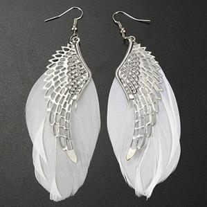 Angel Wings White Feather Drop Earrings
