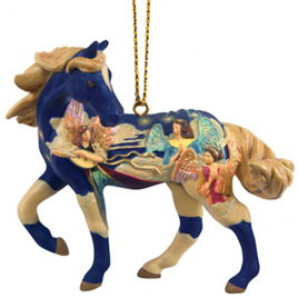 Angels on a high hanging ornament painted pony