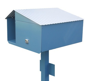 Angled Roof Letterbox with Mounting Post