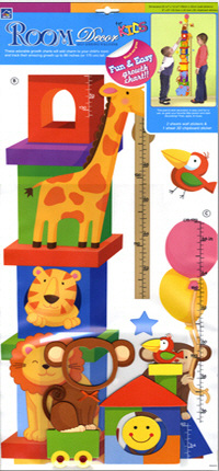 Animal Block Growth Chart Wall Decal